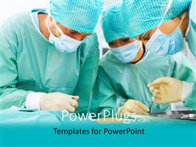 PowerPlugs: PowerPoint template with a team of three surgeons performing an operation on a patient