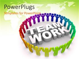 PowerPoint template displaying team work concept using people of various colors holding hand with map