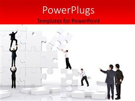 PowerPlugs: PowerPoint template with team work depiction with team players building wall with puzzle pieces