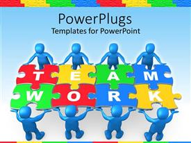 PowerPoint template displaying team work graphics with people holding puzzle to problem on blue background