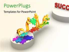 PowerPlugs: PowerPoint template with teamwork depiction with 3D team constructing bridge towards success