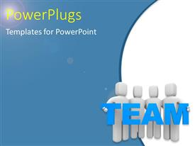 PowerPlugs: PowerPoint template with a team working together with bluish background