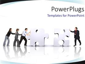PowerPlugs: PowerPoint template with team working together push jigsaw puzzle pieces into position
