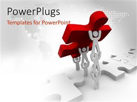 PowerPlugs: PowerPoint template with team works together to lift final puzzle piece in red with world map