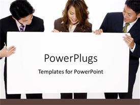 PowerPlugs: PowerPoint template with team works together in project business model presentation white background