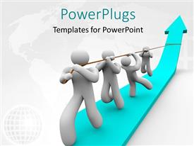 PowerPlugs: PowerPoint template with team works together to pull up a growth arrow with world map in the background