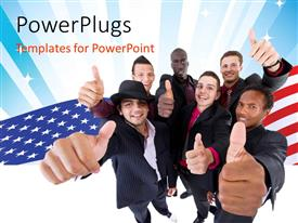PowerPoint template displaying team of young interracial people showing thumbs up over American flag