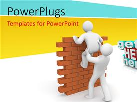 PowerPlugs: PowerPoint template with 3D man lends helping hand to friend climbing brick wall