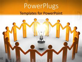 PowerPlugs: PowerPoint template with 3D men hold hands around light bulb depicting teamwork and creative ideas