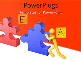 PowerPlugs: PowerPoint template with teamwork depiction as 3D men push puzzle pieces into position