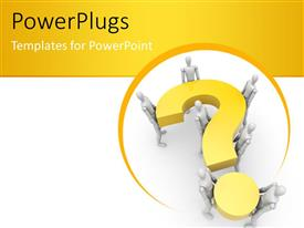 PowerPlugs: PowerPoint template with teamwork as 3D men collectively carry large question mark symbol