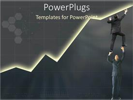 PowerPlugs: PowerPoint template with teamwork to build sales marketing and business grey background