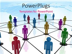 PowerPlugs: PowerPoint template with teamwork depiction with 3D colored people linked together in circles