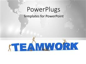 PowerPoint template displaying teamwork depiction with gold men posing on 3D TEAMWORK
