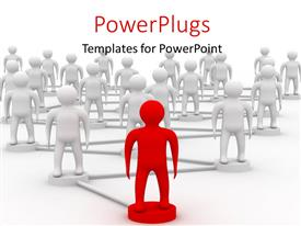 PowerPlugs: PowerPoint template with teamwork depiction with men standing on linked circles and red leader