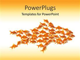 PowerPlugs: PowerPoint template with teamwork depiction with small goldfishes moving in shape of larger goldfish