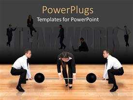 PowerPoint template displaying teamwork depiction as team members join hands to lift weight