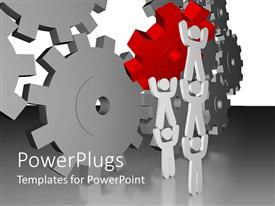 PowerPlugs: PowerPoint template with teamwork on display as team completes final gear placement