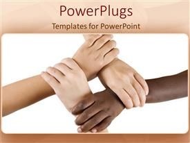 PowerPlugs: PowerPoint template with teamwork diversity hands working together discrimination as a metaphor