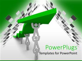 PowerPlugs: PowerPoint template with teamwork for growing business with white figures holding one another to help the green arrow climb to success
