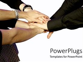 PowerPlugs: PowerPoint template with teamwork, hands, group effort, white background
