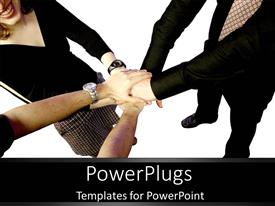 PowerPlugs: PowerPoint template with teamwork holding hands together business team group collaboration deal