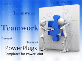 PowerPlugs: PowerPoint template with teamwork with man and woman putting blue piece in white puzzle