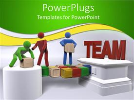 PowerPlugs: PowerPoint template with teamwork metaphor with 3D people moving boxes, team building