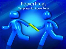 PowerPoint template displaying teamwork metaphor with blue figures passing baton during a race