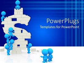 PowerPoint template displaying teamwork metaphor with blue people building dollar sign
