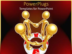 PowerPoint template displaying teamwork metaphor with gold people holding hands on a life preserver