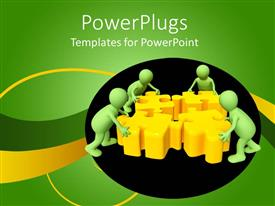 PowerPlugs: PowerPoint template with teamwork metaphor with green people assembling yellow puzzle