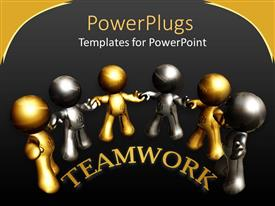 PowerPlugs: PowerPoint template with teamwork metaphor with silver and gold 3D people holding hands