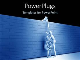 PowerPlugs: PowerPoint template with teamwork metaphor with three people helping each other climb over a wall