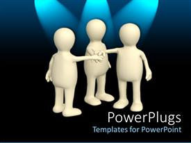PowerPlugs: PowerPoint template with teamwork metaphor with three white humans touching hands