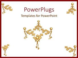 PowerPlugs: PowerPoint template with teamwork putting together the pieces of the puzzle solutions business collaboration