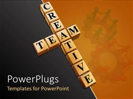 PowerPoint template displaying teamwork theme with creative team building blocks and people holding hands on gears