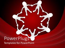 PowerPlugs: PowerPoint template with teamwork unity metaphor with white figures holding hands in a circle