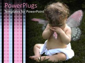 PowerPlugs: PowerPoint template with tearful, crying baby wearing diaper and torn angel wing, blue and pink stars