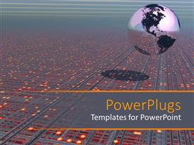 PowerPoint template displaying tech circuit board landscape with wires and Earth globe world