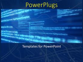 PowerPoint template displaying a technological background with a lot of text