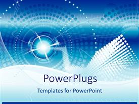 PowerPlugs: PowerPoint template with technological sphere in blue background