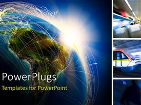 PowerPlugs: PowerPoint template with a technological view of the Earth with bluish background