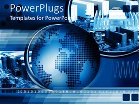 PowerPlugs: PowerPoint template with technology abstract computer chip blue background