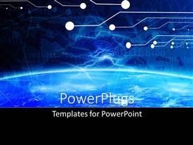 PowerPoint template displaying technology banner on a soft blue digital background with binary code