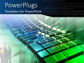 PowerPlugs: PowerPoint template with technology computer keyboard typing business numbers accounting