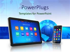PowerPoint template displaying technology concept with Tablet, PC, and Touch Screen Smartphone with Blue Earth Globe