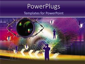 PowerPlugs: PowerPoint template with technology fingerprint with eye and people taking photos, tech, IT