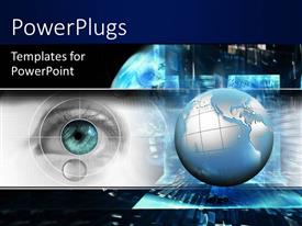 PowerPlugs: PowerPoint template with technology theme with 3D globe and eye scanning, black color