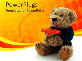 PowerPlugs: PowerPoint template with a teddy bear holding red flowers sitting on the floor